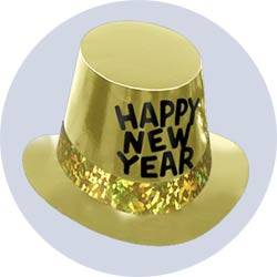 new years hats deluxe gold